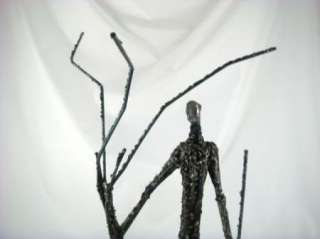 Vintage Abstract Modern Metal Man & Tree Art Sculpture