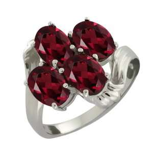 3.60 Ct Oval Red Garnet Sterling Silver Ring Jewelry