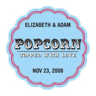 Popcorn Topped with Love Wedding Favor Sticker Wedding Favor