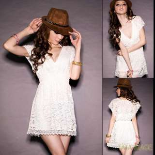 Beige See Through Ladies NEW Lace Mini Dress US sz S