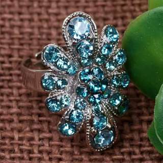Light Blue Crystal Flower Finger Ring Cocktail Gift x1