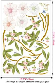 Magnolia Flower Adhesive WALL STICKER Removable Decal