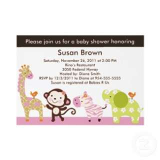 Jungle Jill / Cute Animals Baby Shower Invitation invitation