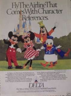 DELTA AIRLINES WALT DISNEY WORLD MICKEY MOUSE GOOFY AD