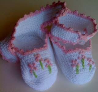 Baby Ankle Booties White Pink Crochet Reborn Doll