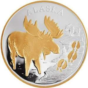 Mint Moose Tracks Silver Proof Medallion .999 1 Troy Oz Gold Relief