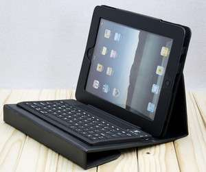 Black Leather Case Cover with Wireless Bluetooth Keyboard for Apple