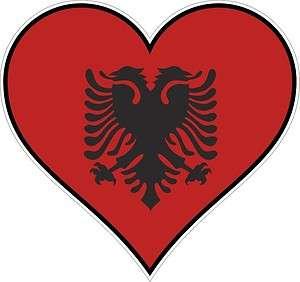 ALBANIA HEART vinyl STICKER bumper decal gift LOVE FLAG STATE BIKE