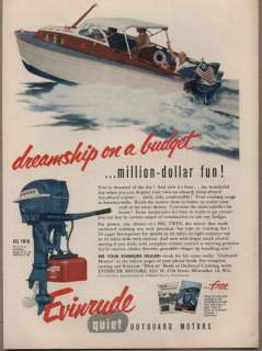 Original 1954 Vintage Ad Evinrude 25 HP Big Twin Quiet Outboard Motors