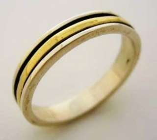 Israeli delicate spinner ring silver 9 ct gold wedding engagement