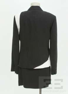 Versus Gianni Versace 2pc Black Ribbed Ivory Trim Jacket & Skirt Suit