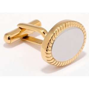 Steel Two Toned Round Cufflinks in a Nice Gift Box (ck9) Jewelry