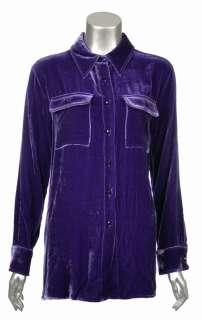 Sutton Studio Womens Velvet Safari Big Shirt Blouse