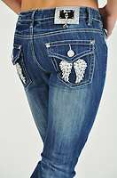 Angel Wing Jeans, Rhinestone Embellished Jeans, Ladies/Junior Skinny