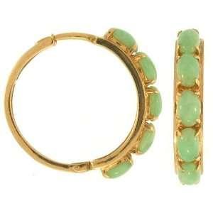Kay 14k Yellow Gold Green Jadeite Jade Half hoop Earrings Jewelry