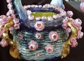 Amphora Art Pottery Roses flowers Vase Bohemian Figurine handle basket