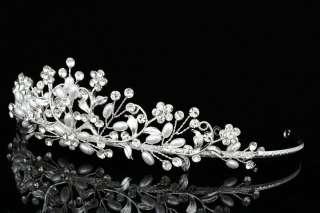 Bridal Wedding Flower Vine Rhinestone Crystal Faux Pearl Crown Tiara