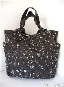 Marc Jacobs Pretty Nylon Black Animal Print Tote Shopper Handbag Purse