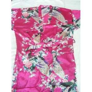 Womens 100% Thai Silk Robes  Asian Peacock Design  Perfect Rose (Free