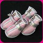 Pink Leather Cozy Pet Dog Boots Clothes Apparel Shoes 4