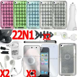 22 ACCESSORY FOR APPLE IPOD TOUCH 4TH GEN CASE HOME WALL CAR CHARGER