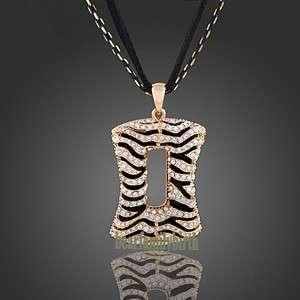 18K gold Gp Swarovski Crystal fashion Leopard long necklace N8