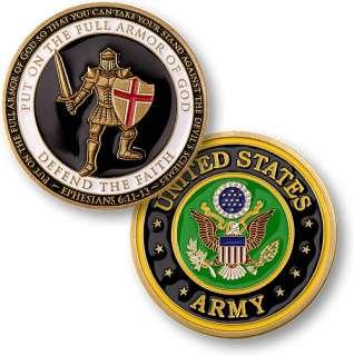 ARMOR OF GOD US ARMY CHRISTIAN MILITARY COIN MEDAL