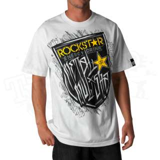 New 2012 Metal Mulisha Mens Rockstar Shield T Shirt   White   Size XX