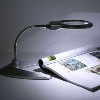 LIGHTED TABLE TOP DESK MAGNIFIER MAGNIFYING GLASS Silve
