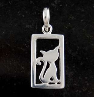 Sterling Silver Cat Necklace Pendant Charm .925 Solid Jewelry