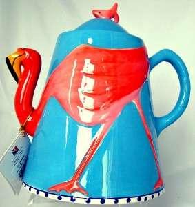 Flamingo Teapot Sugar Creamer Set Blue Sky Diane Artware MIB