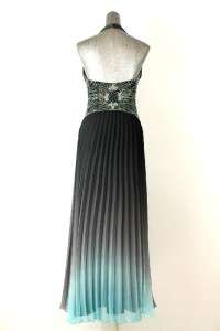 blue gray TONY BOWLS PARIS formal gown dress sheer beaded halter sz