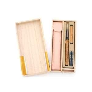 Akashiya Natural Bamboo Brush Pen Pink Silk Case