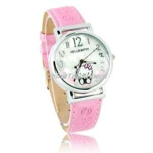 Lovely Hello Kitty Shell Dial Plate Leather Band Quartz