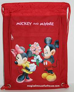 Mickey Mouse Minnie Disney Red Drawstring Backpack J