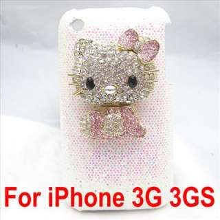 Bling hello kitty white back case for iphone 3G 3GS