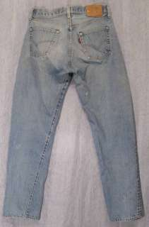 Trashed BLEACH DISTRESSED Really Worn LEVI'S 501 Button Fly Jeans