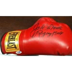 Jake LaMotta Raging Bull Signed Boxing Glove PSA COA   Autographed