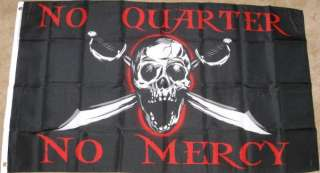 3X5 NO QUARTER MERCY FLAG PIRATE SKULL SWORD 3X5 F992