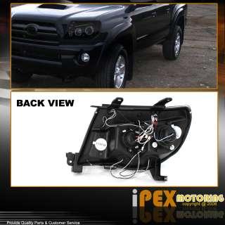 05 11 Toyota Tacoma Glossy Pearl Black Dual Halo LED Projector Head
