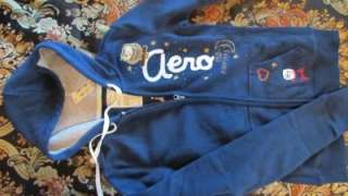 WOMENS EMBROIDERED OWL MIDNIGHT CLUB HOODIE .SIZE S.BLUE