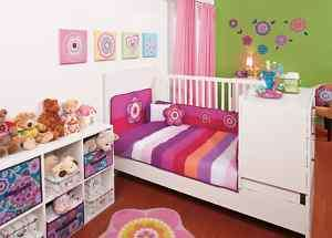 NEW Baby Girls Pink Stripes Flowers Crib Bedding Set 6p