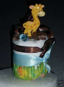 GIRAFFE SAFARI DIAPER CUPCAKES BABY SHOWER TOPPER CAKE