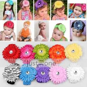 Baby Crochet Headband + Gerber Daisy Flower Hair Clip