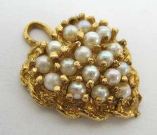 Killer Hand Made 14K Yellow Gold Pearl Charm Pendant
