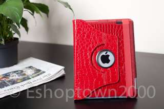 Red iPad 2 360 Leather Case Crocodile Rotating Magnetic Smart Cover