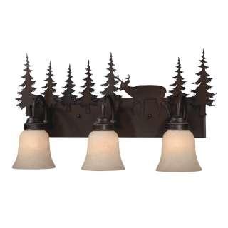 NEW 3 Light Rustic Deer Bathroom Vanity Lighting Fixture Burnished