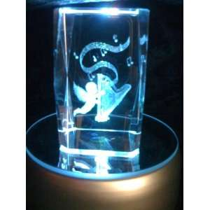 Laser Etched Crystal Cube Cherub with Harp Everything Else