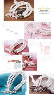 Three Layer Imitation Pearls Multi Pendants Bangle Bracelet