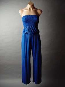 Strapless Smocked Tube Top Casual Jersey Knit Lounge Pant Bold Blue